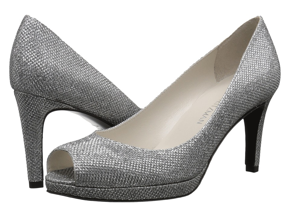 Stuart Weitzman Bridal amp Evening Collection Annamimic Silver Noir High Heels