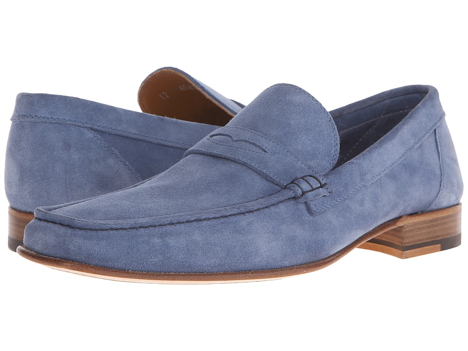 a. testoni Unlined Suede Penny Loafer Jeans Mens Slip on Shoes