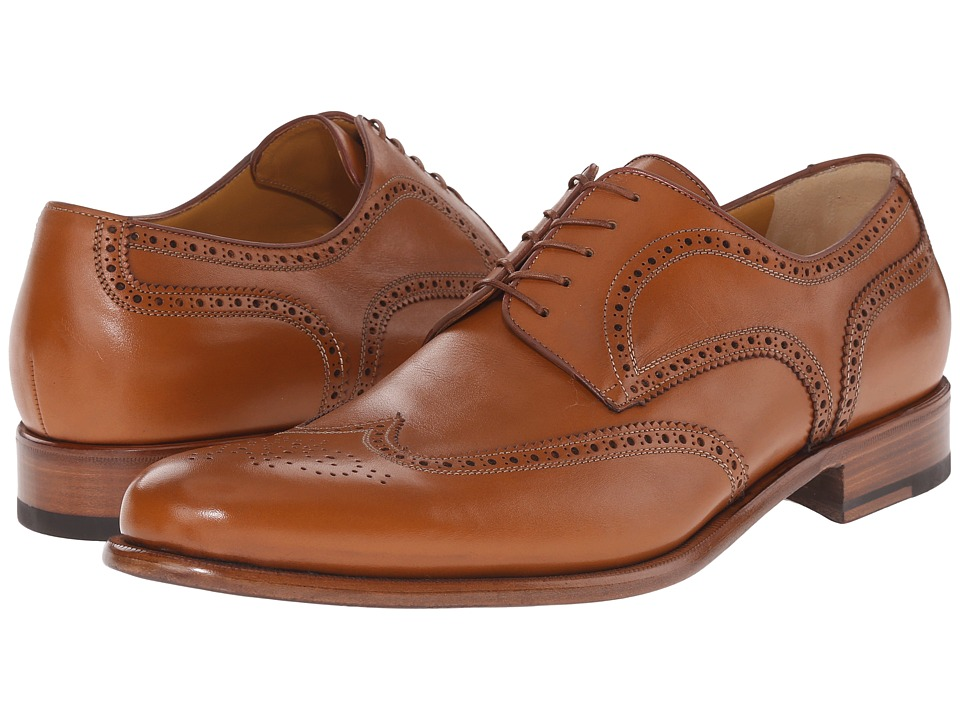 a. testoni Lux Calf Anticato Wingtip Oxford Caramel Mens Lace Up Wing Tip Shoes