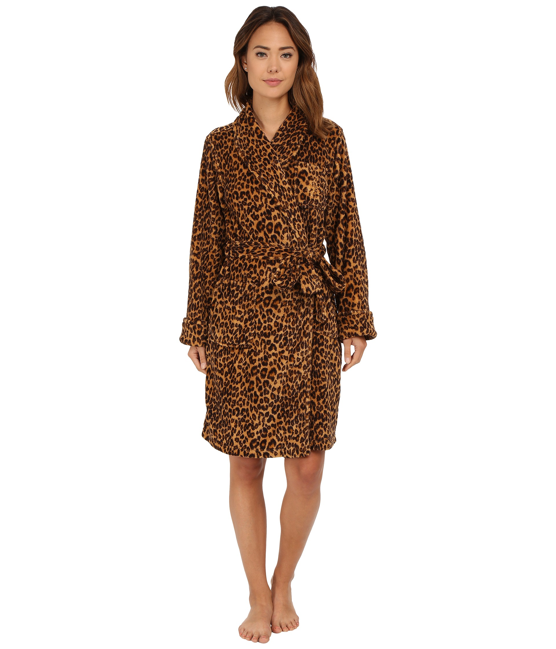 lauren by ralph lauren folded so soft terry short robe keene leopard free shipping