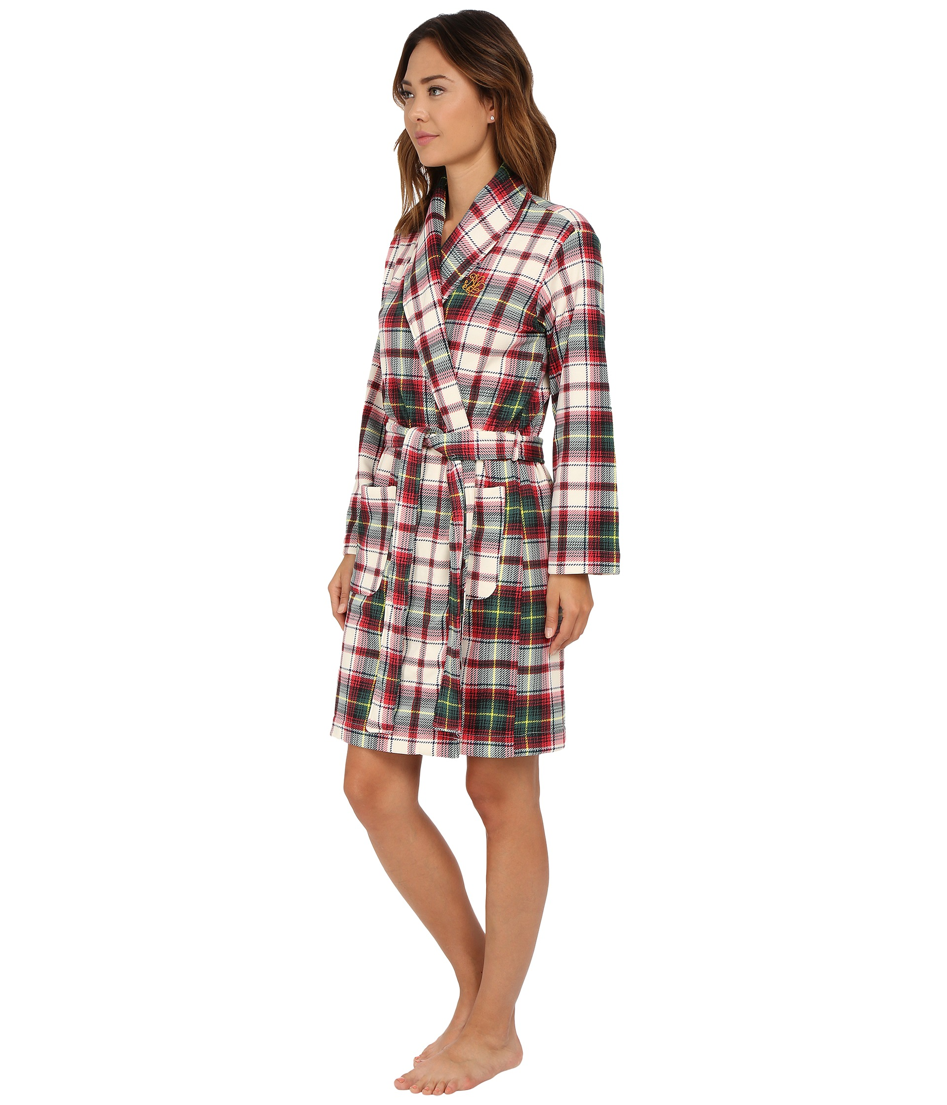 lauren by ralph lauren folded beaufort fleece short robe free shipping both ways. Black Bedroom Furniture Sets. Home Design Ideas