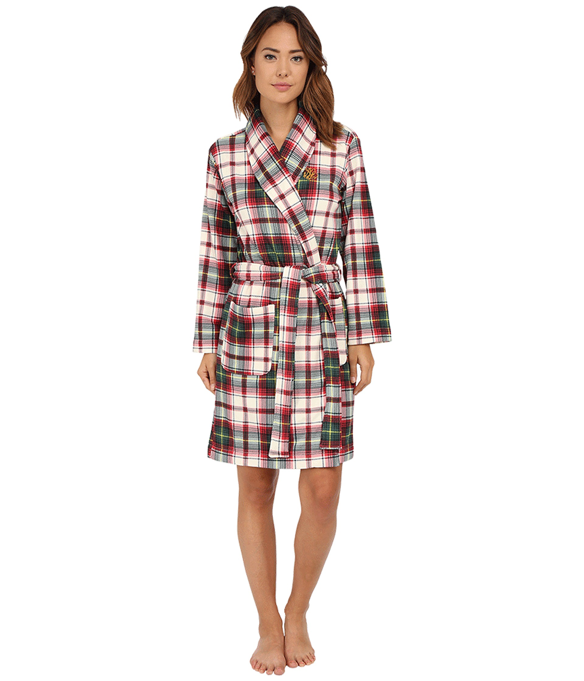 lauren by ralph lauren folded beaufort fleece short robe mcintyre plaid cream red multi zappos. Black Bedroom Furniture Sets. Home Design Ideas