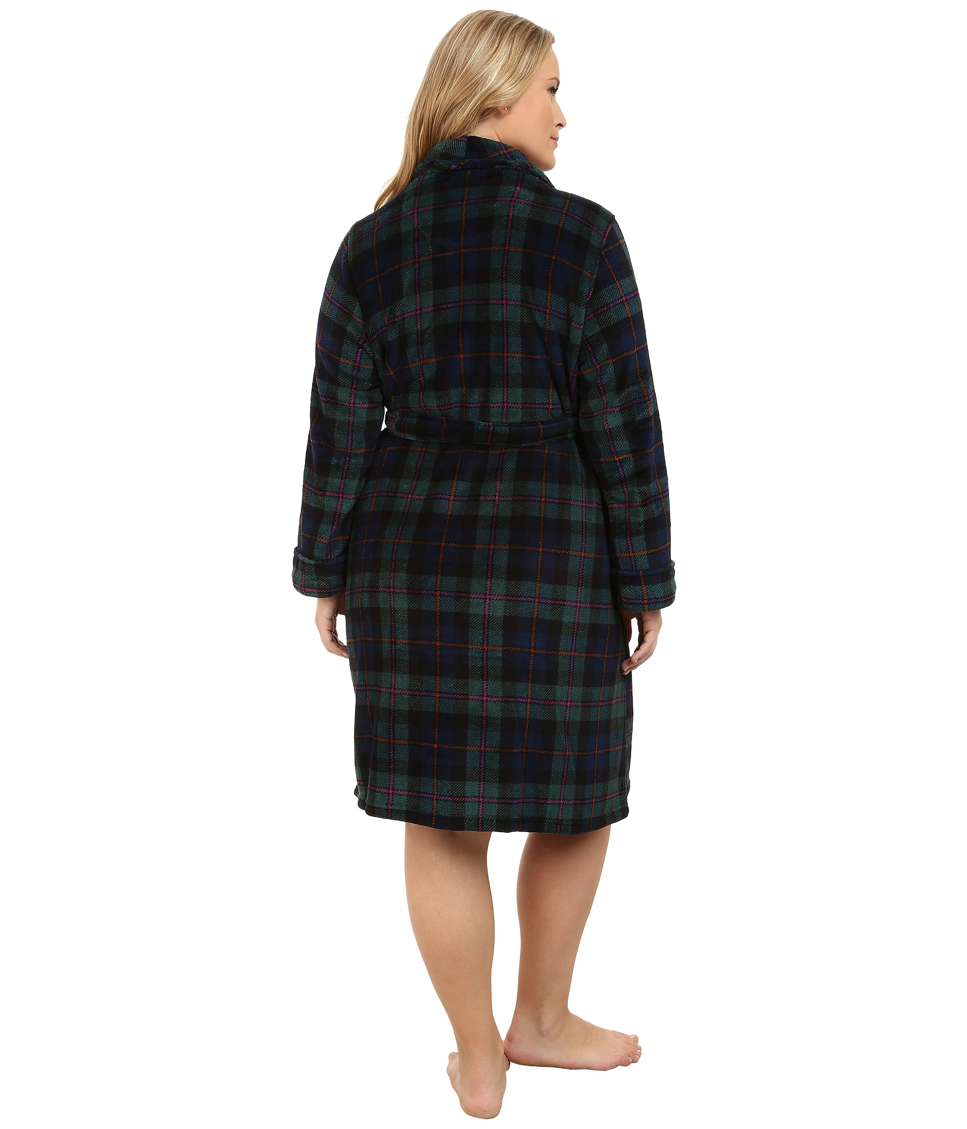 lauren ralph lauren plus size folded so soft terry short robe wallace plaid green windsor navy. Black Bedroom Furniture Sets. Home Design Ideas
