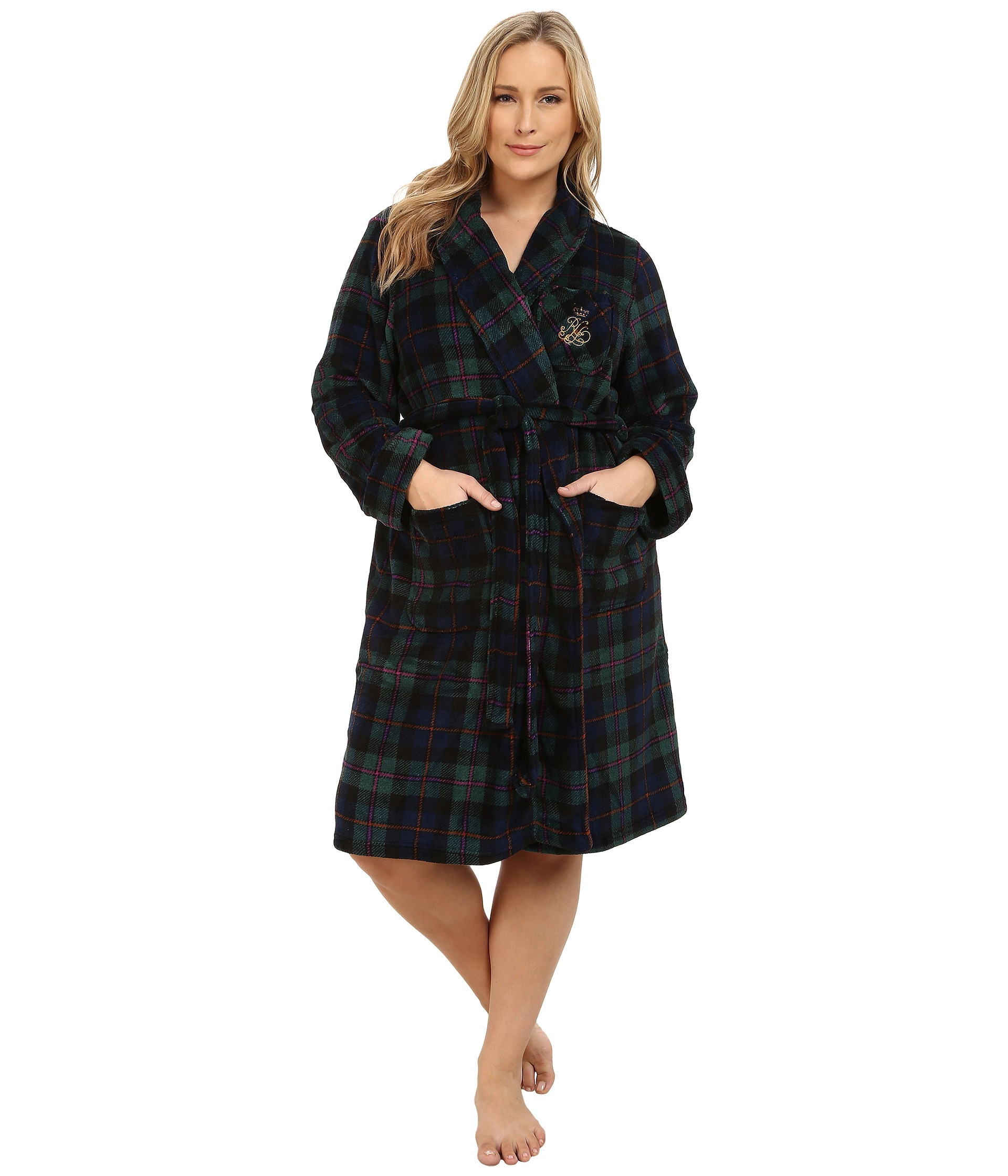 lauren by ralph lauren plus size folded so soft terry short robe free shipping both. Black Bedroom Furniture Sets. Home Design Ideas