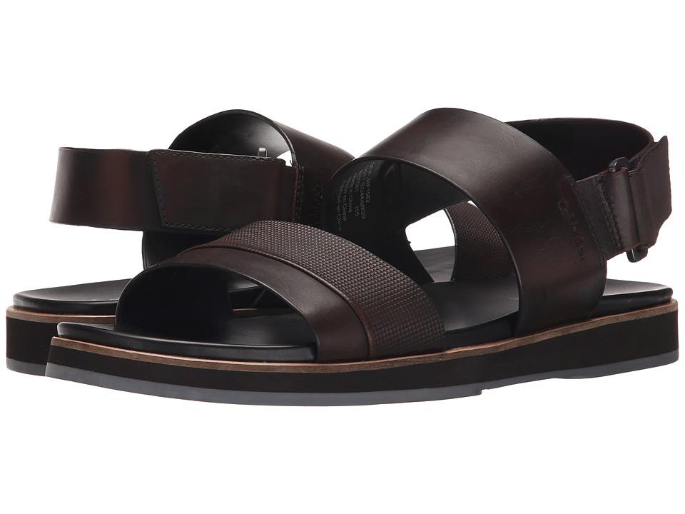 Calvin Klein - Dex (Brown Stud Emboss Leather) Men