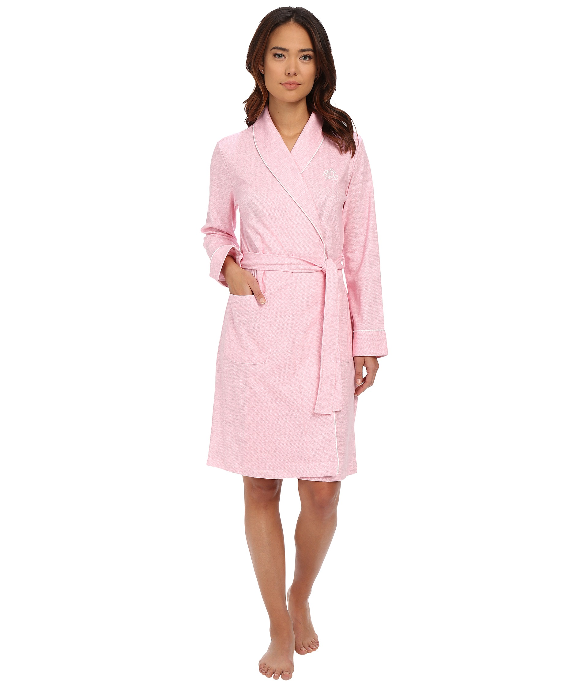 lauren ralph lauren interlock short shawl collar robe free shipping both ways. Black Bedroom Furniture Sets. Home Design Ideas