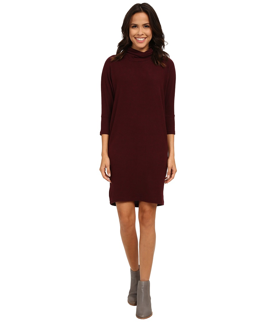 Image of B Collection by Bobeau - Cozy Dress (Burgundy) Women's Dress