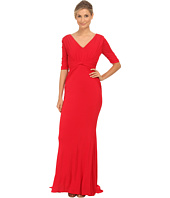 Badgley Mischka - Stretch Matte Jersey V-Neck Gown