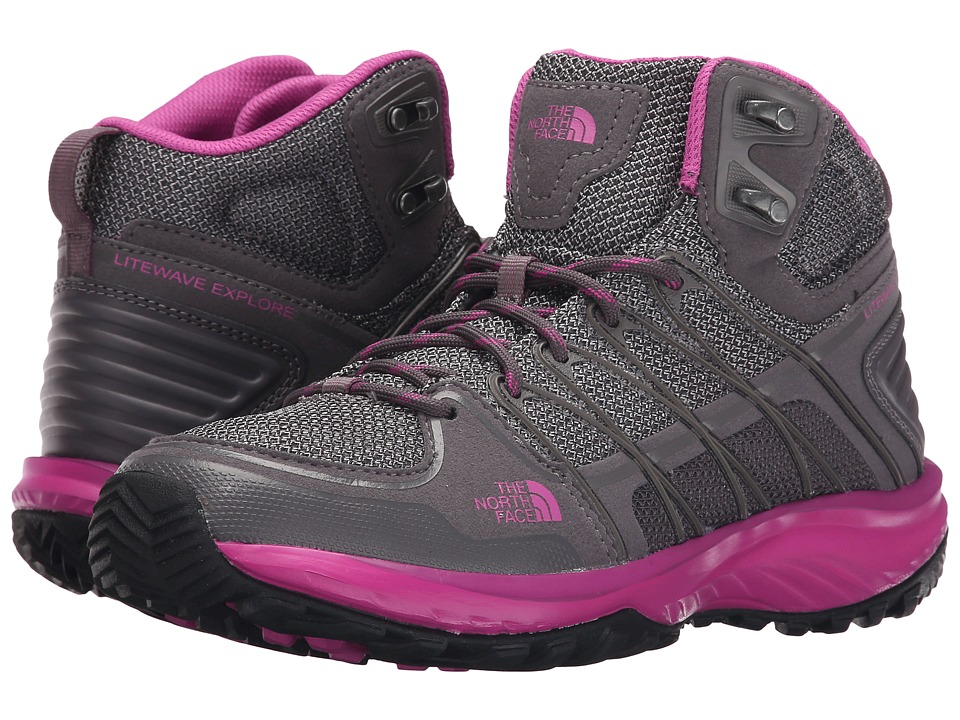 The North Face - Litewave Explore Mid (Steeple Grey/Raspberry Rose) Women