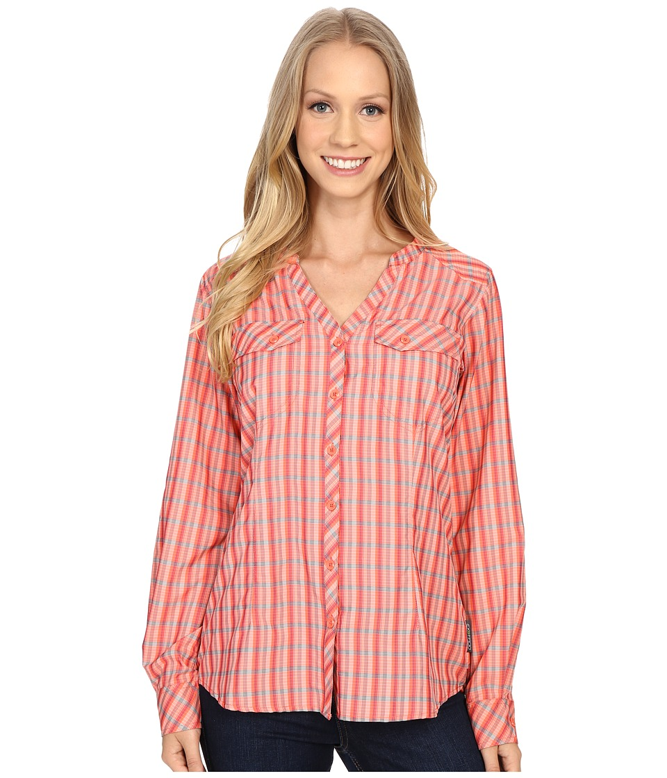 ExOfficio Airhart Long Sleeve Shirt Hot Coral Womens Long Sleeve Button Up