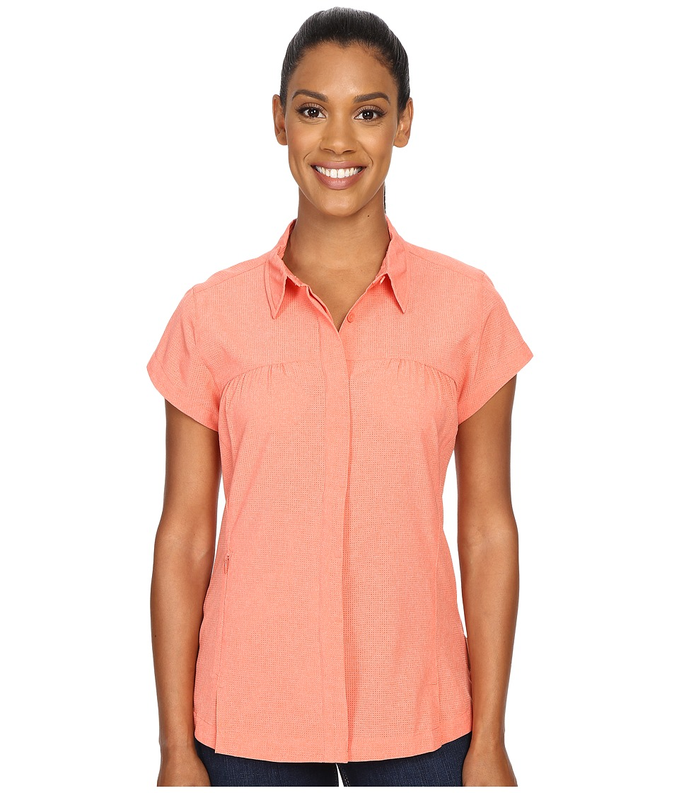 ExOfficio Air Space Short Sleeve Shirt Hot Coral Womens Clothing
