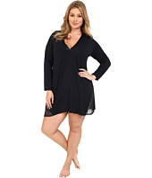 Midnight by Carole Hochman - Plus Size A Touch of Silver Lace Inset Sleepshirt