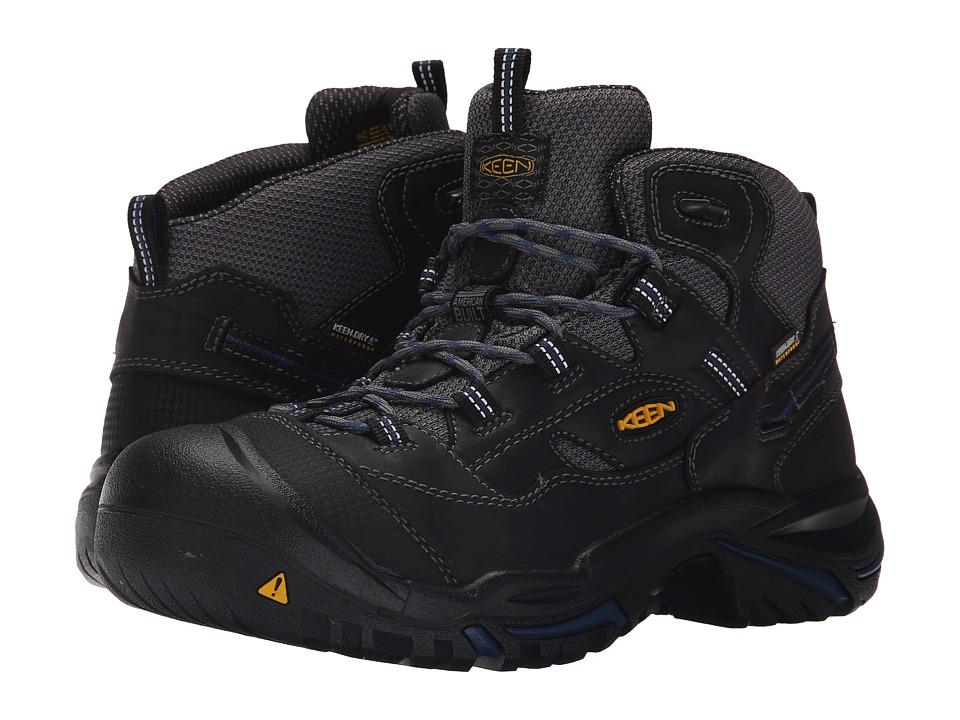 Keen Utility - Braddock Mid Waterproof Soft Toe (Raven/Estate Blue) Mens Work Lace-up Boots