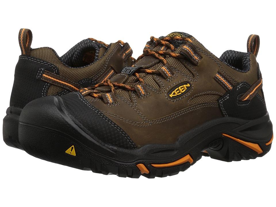 Keen Utility - Braddock Low Soft Toe (Cascade Brown/Orange Ochre) Mens Industrial Shoes