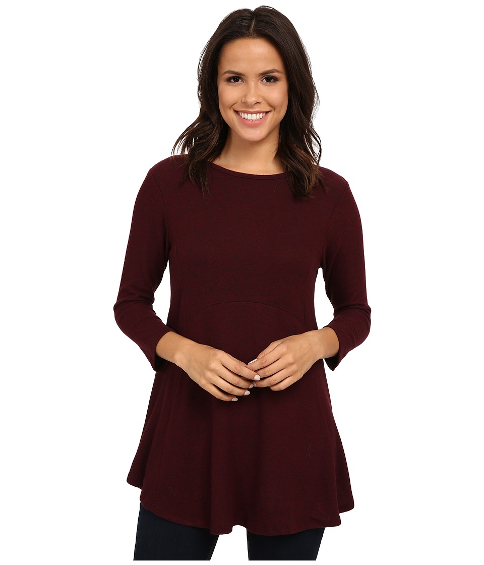 Image of B Collection by Bobeau - Brushed Babydoll Hemline Knit (Burgundy) Women's Clothing