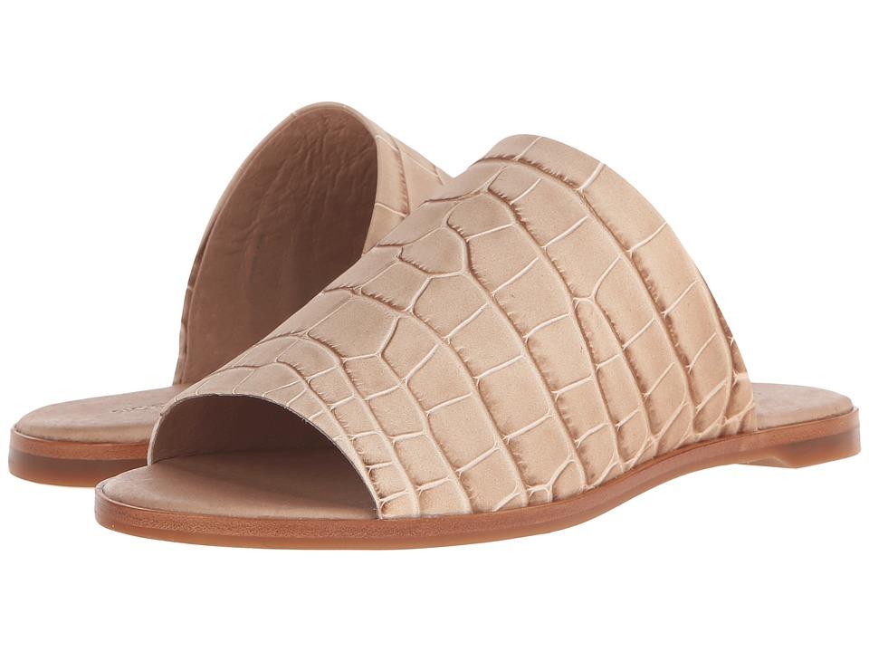 Rachel Zoe Belcaro Natural Nubuck Croc Emboss Womens Slide Shoes
