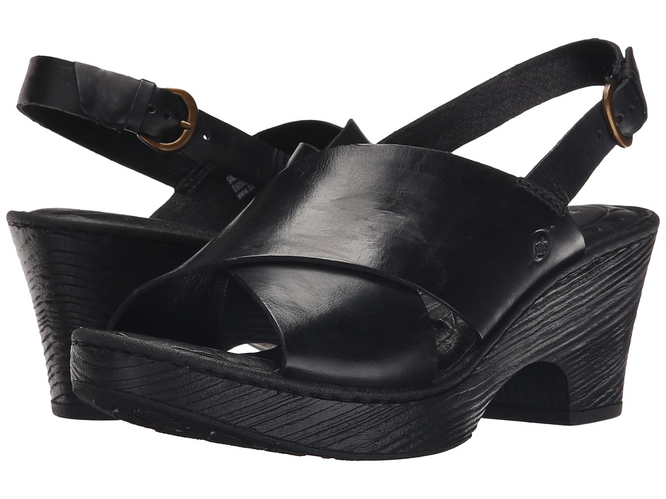 Born - Coralyn (Black Full Grain Leather) Women's Wedge Shoes