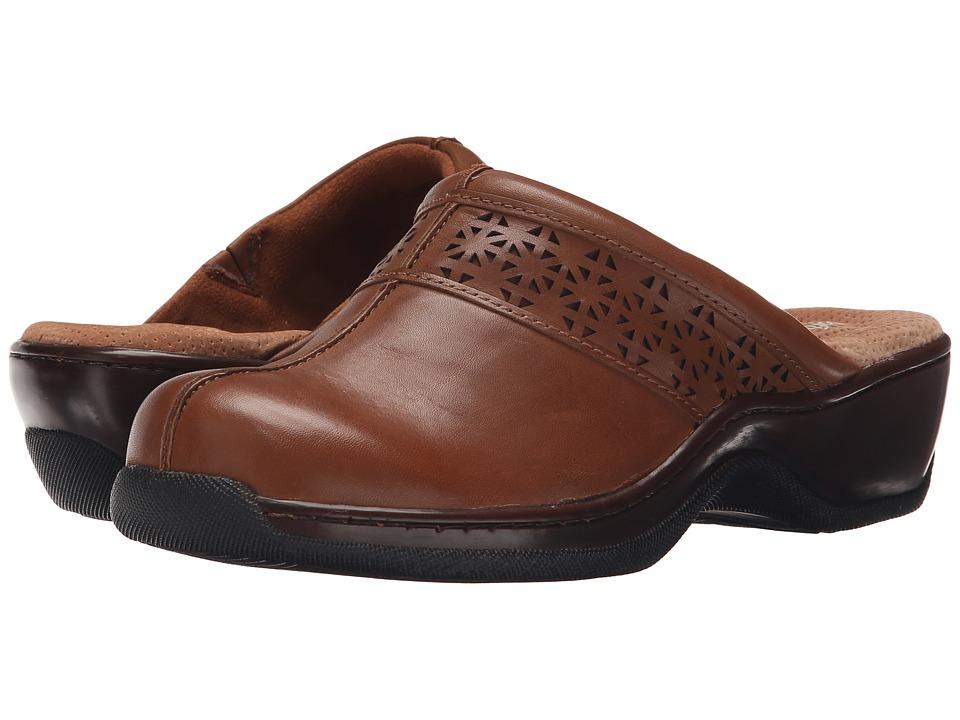 SoftWalk Abby Laser Cognac Full Grain Nappa Womens Clog/Mule Shoes