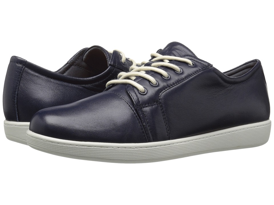 Trotters Arizona Navy Full Grain Nappa Soft Leather Womens Lace up casual Shoes