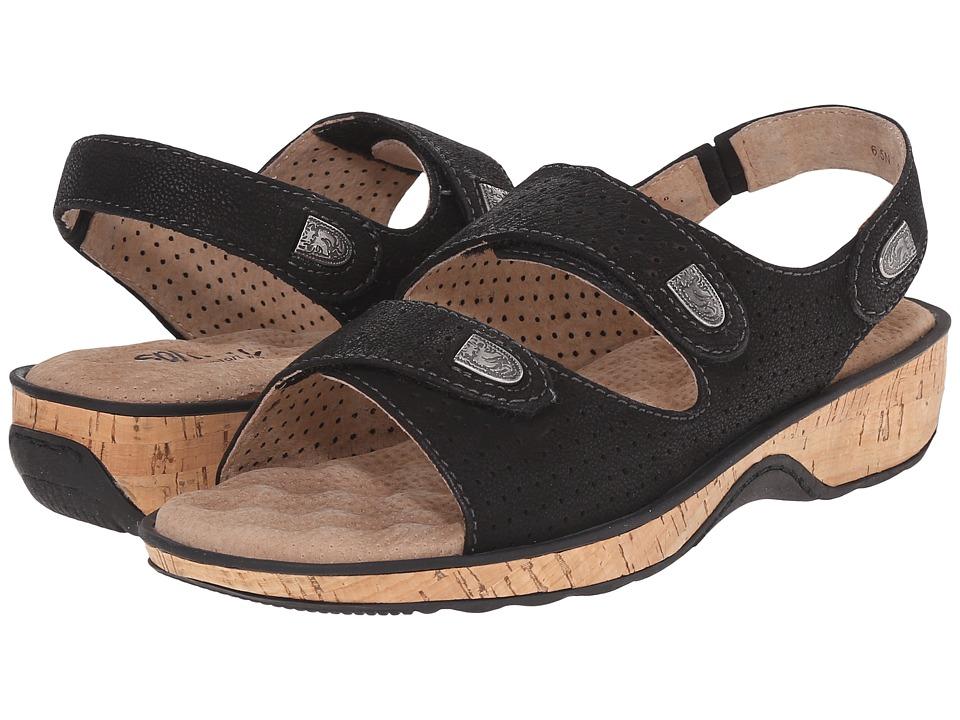 SoftWalk Bolivia Black Tumbled Buff Leather Womens Sandals