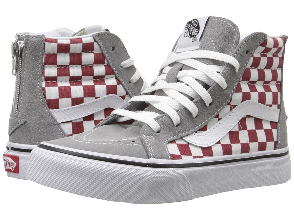 Vans Kids Sk8 Hi Zip Little Kid/Big Kid Checkerboard Frost Gray/Rhubarb Boys Shoes