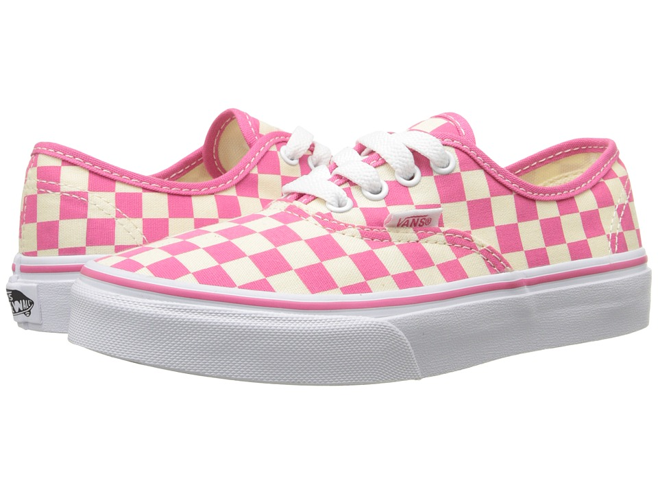 Vans Kids Authentic Little Kid/Big Kid Checkerboard Classic White/Hot Pink Girls Shoes