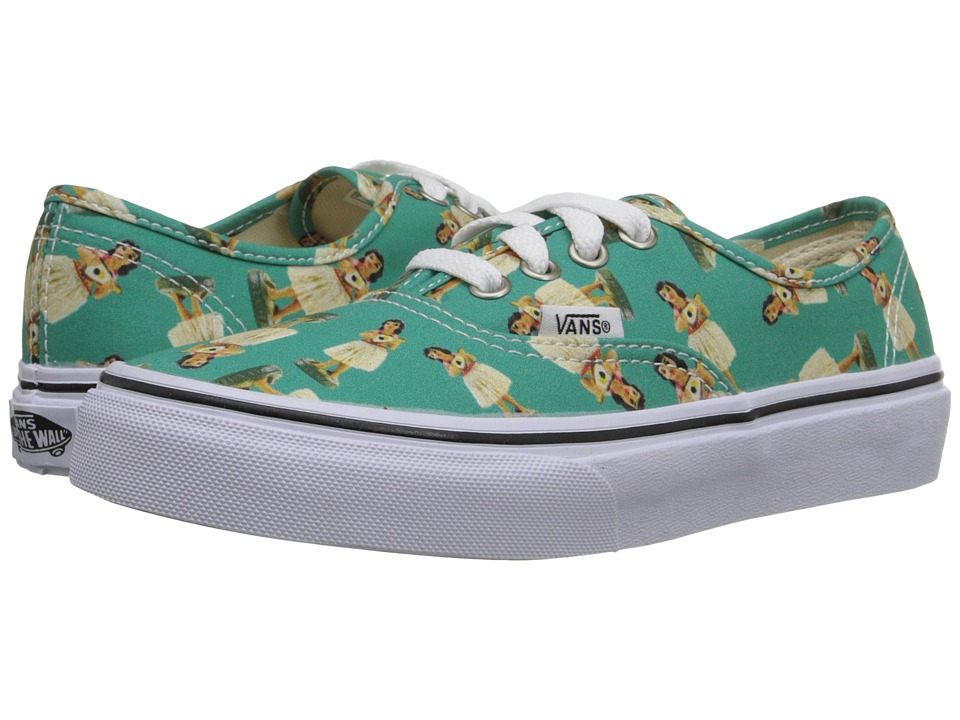 Vans Kids Authentic Little Kid/Big Kid Digi Hula Turquoise/True White Girls Shoes