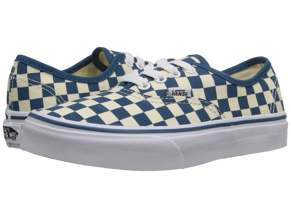 Vans Kids Authentic Little Kid/Big Kid Checkerboard Classic White/Moroccan Blue Girls Shoes