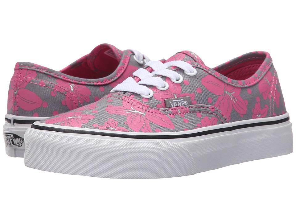 Vans Kids Authentic Little Kid/Big Kid Flower Polka Frost Gray/Azalea Pink Girls Shoes