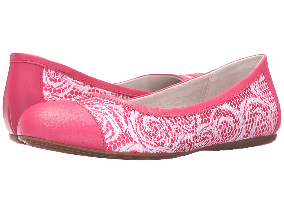 SoftWalk Napa Pink Rose Fabric/Smooth Leather Womens Flat Shoes