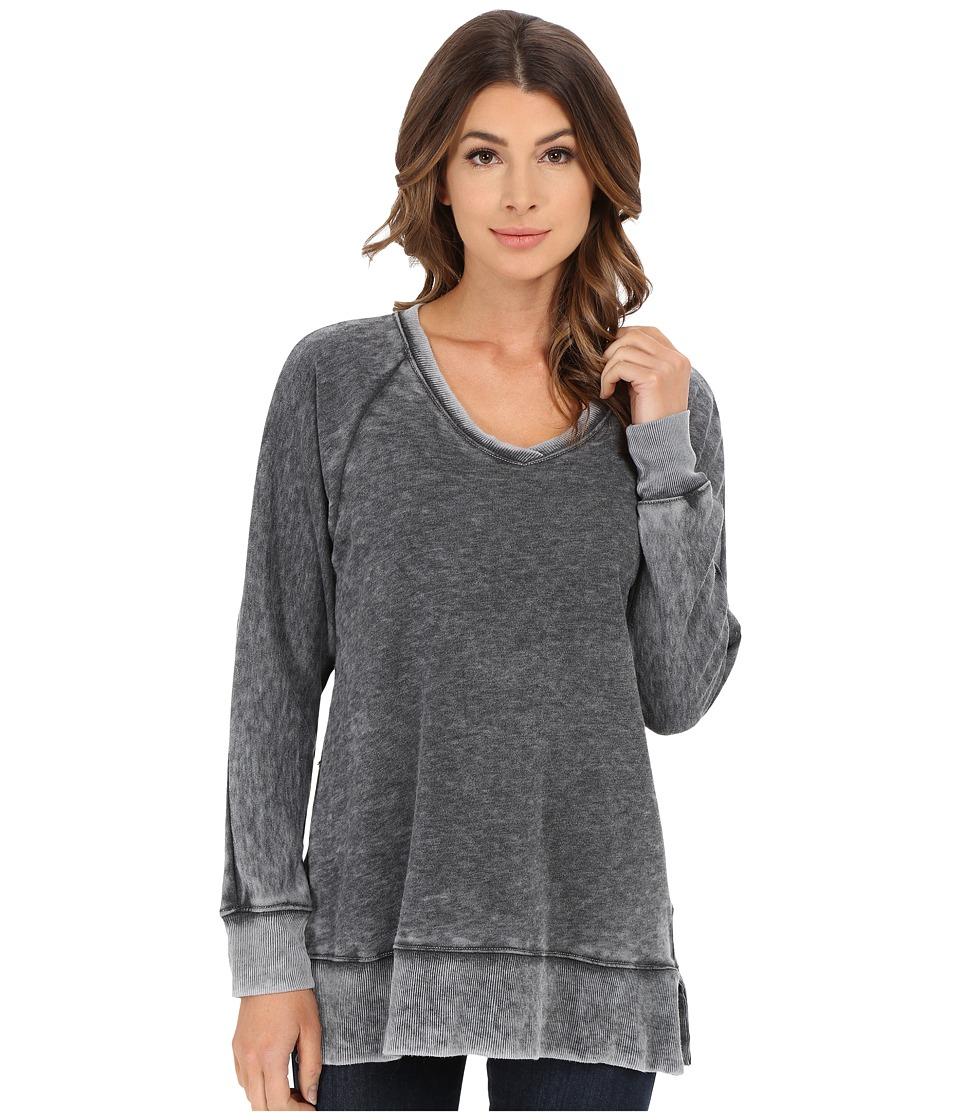 Allen Allen Long Sleeve Raglan Vee Tunic Black Womens Sweater