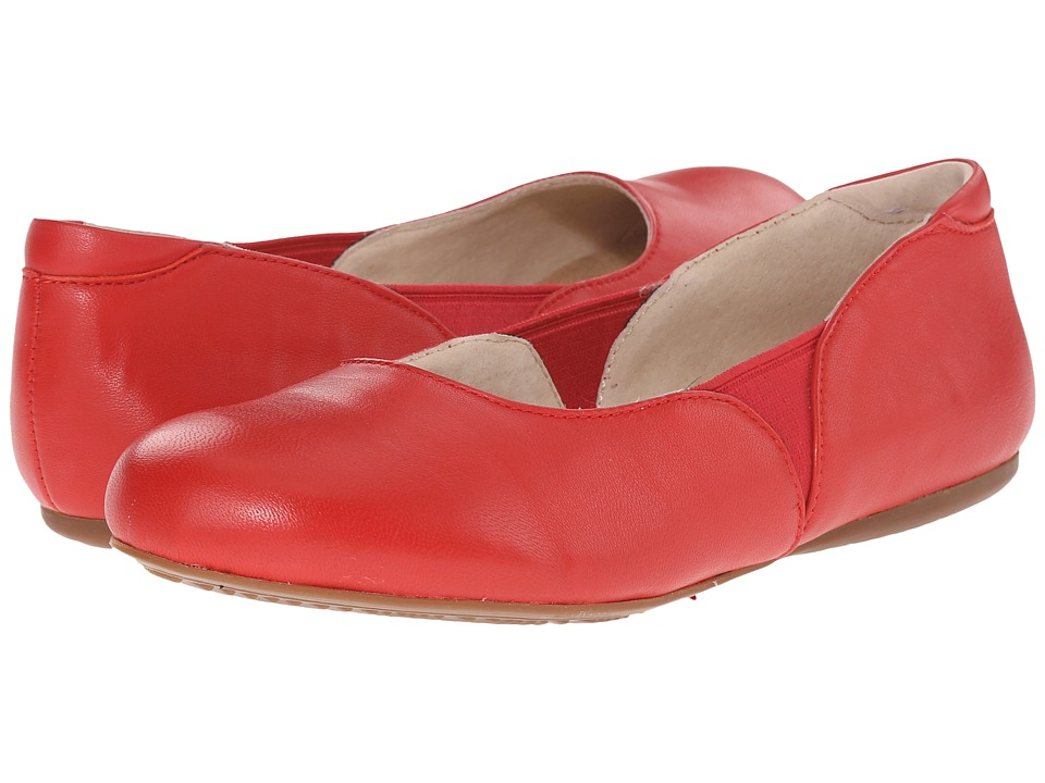 SoftWalk Norwich Red Soft Nappa Leather Womens Dress Flat Shoes