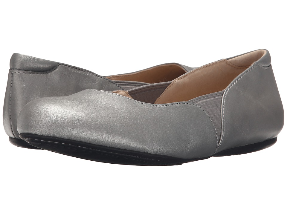SoftWalk Norwich Pewter Soft Nappa Leather Womens Dress Flat Shoes