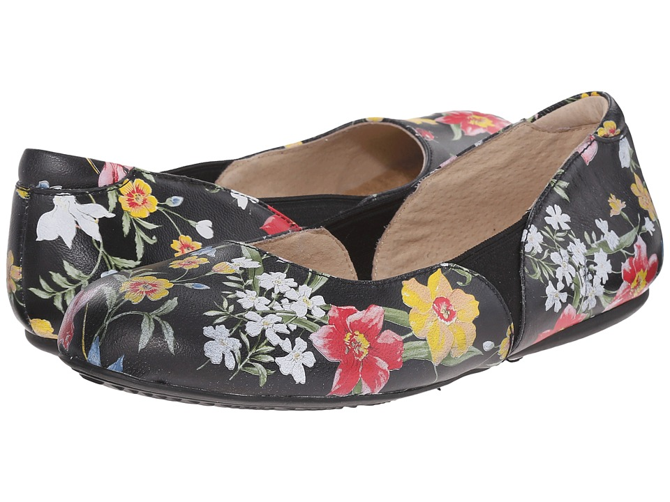 SoftWalk Norwich Midnight Floral Printed Leather Womens Dress Flat Shoes