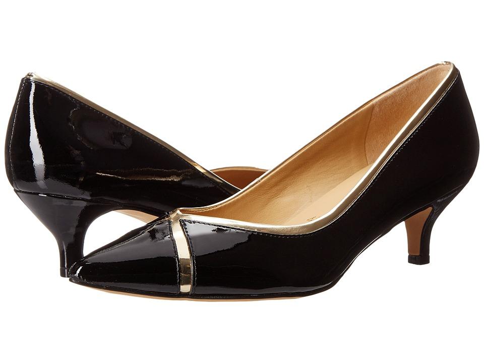 Trotters - Kelsey (Black/Gold Soft Patent Leather/Mirror Metallic) Women