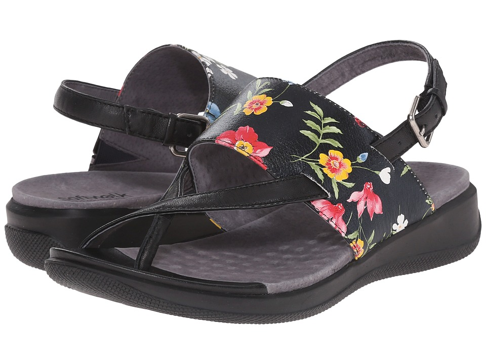 SoftWalk Teller Midnight Floral Printed Leather Womens Sandals