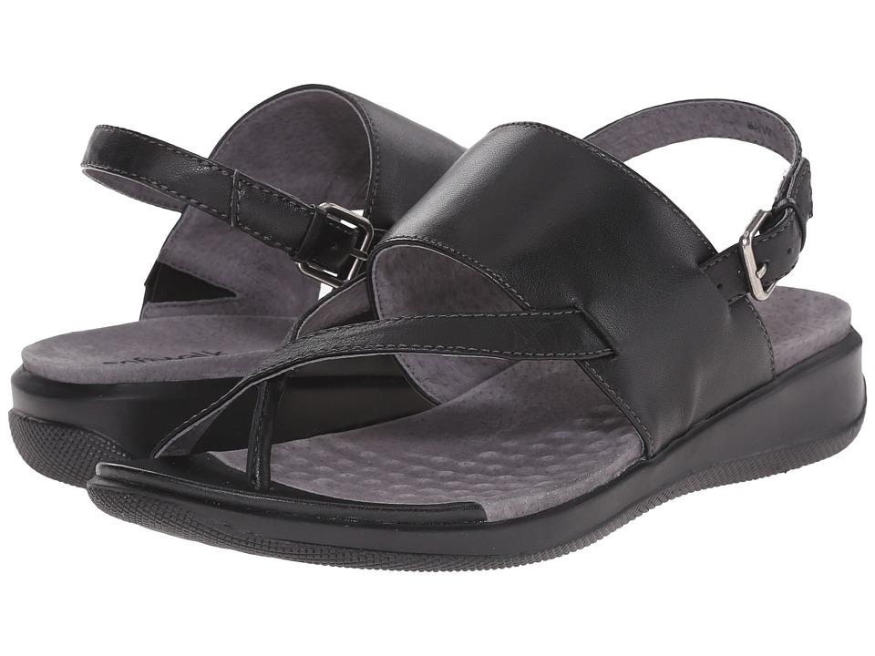SoftWalk Teller Black Soft Nappa Leather Womens Sandals