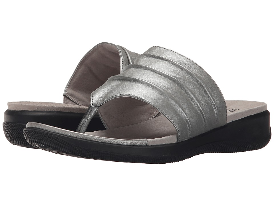 SoftWalk Toma Pewter Soft Nappa Leather Womens Sandals