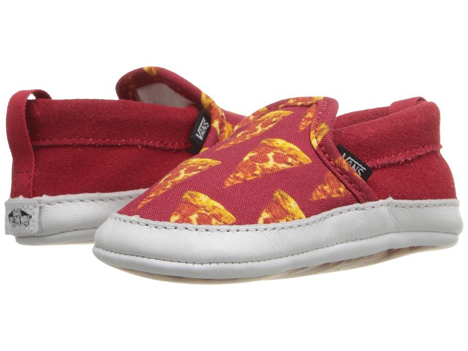 Vans Kids Slip On Crib Infant/Toddler Late Night Mars Red/Pizza Boys Shoes