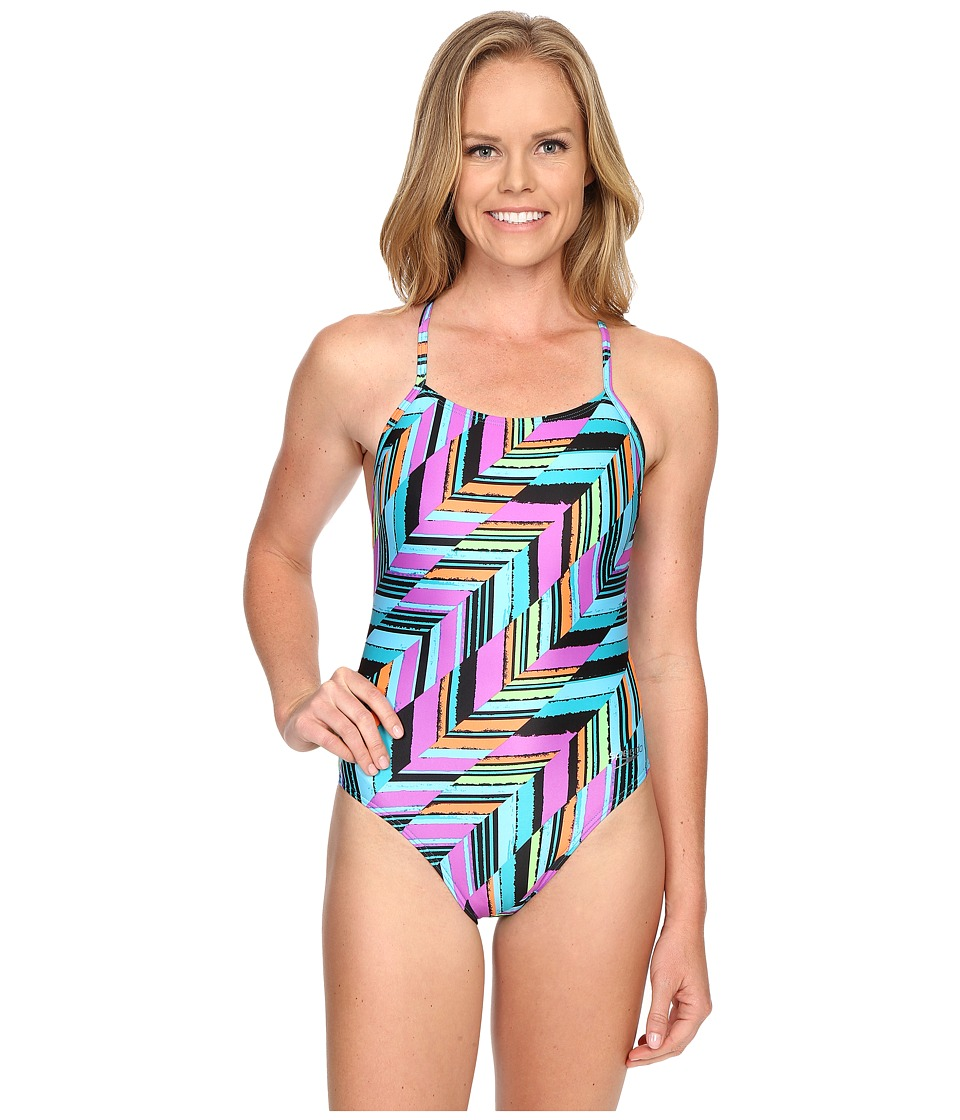 Speedo Angles Free Back One Piece Mystic Teal Womens Swimsuits One Piece
