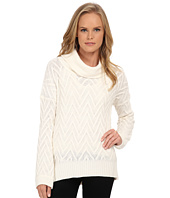 Three Dots - Long Sleeve Draped T-Neck Tunic