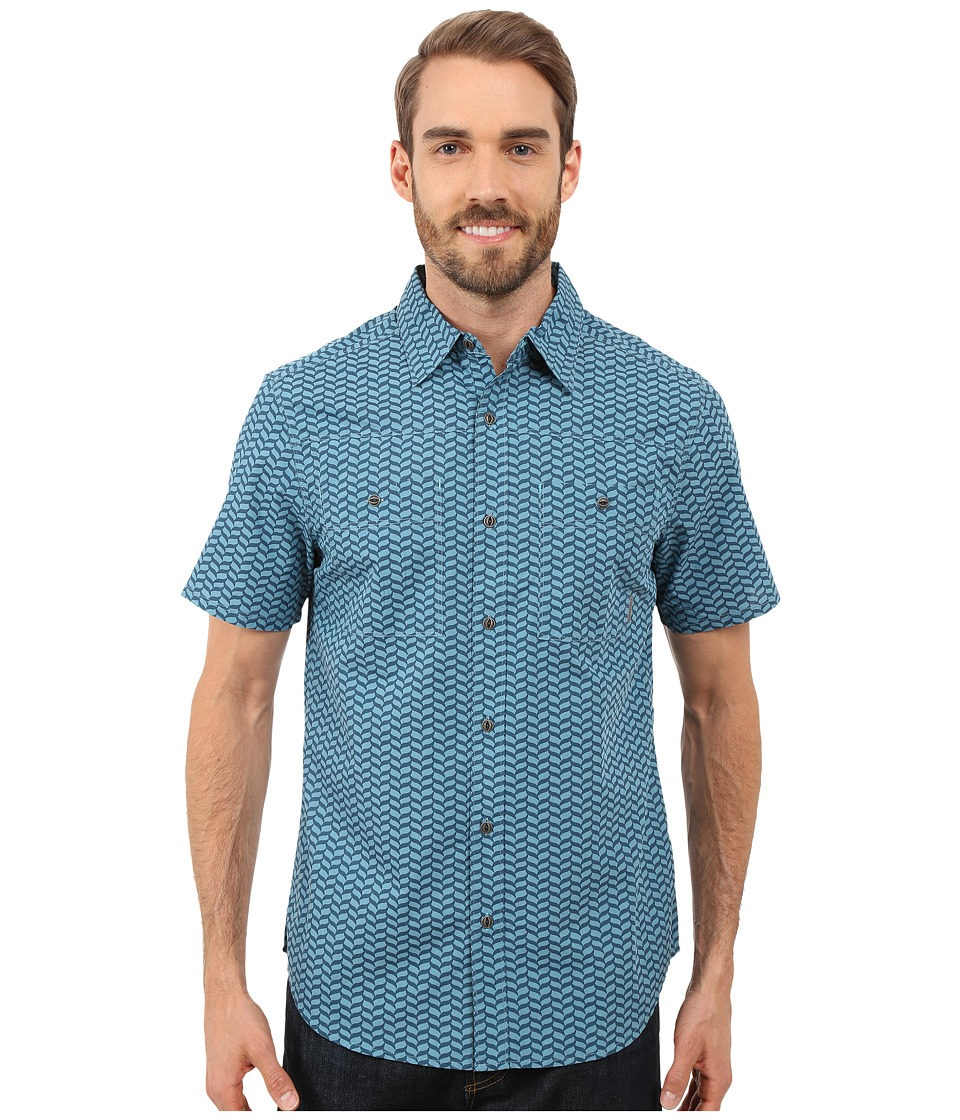Merrell Palm Rope Print Shirt Legion Blue Print Mens Short Sleeve Button Up