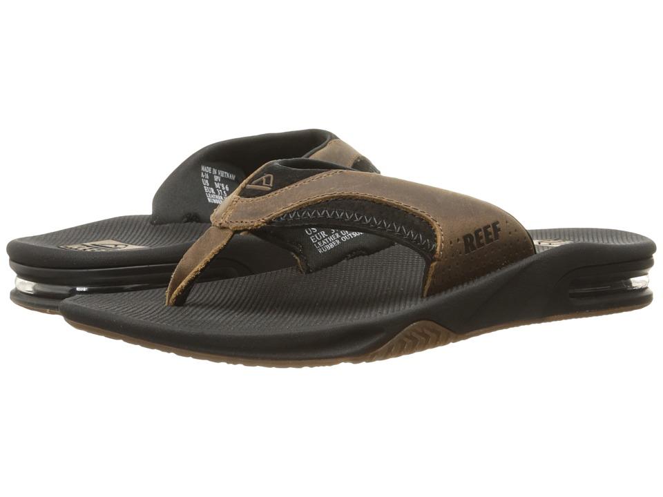 Reef Fanning Leather Black/Brown Mens Sandals