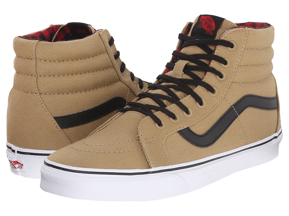 Vans SK8 Hi Reissue Twill amp Gingham Cornstalk/Black Skate Shoes