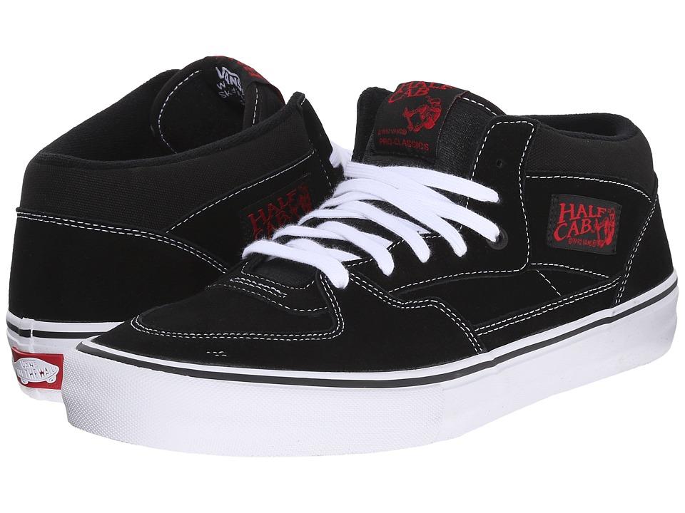 Vans - Half Cab Pro (Black/White/Red) Mens Skate Shoes