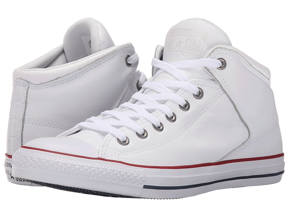 Converse Chuck Taylor All Star Hi Street Car Leather Motorcycle Leather White/Garnet/White Mens Lace up casual Shoes