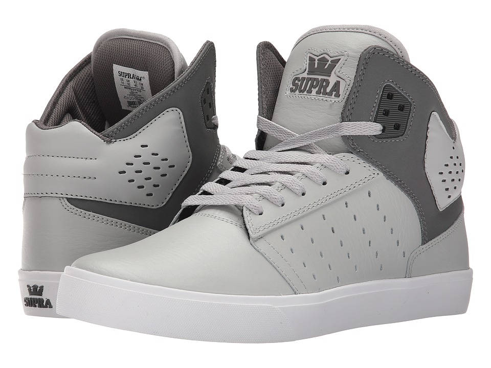 Supra Atom Light Grey/Charcoal/White Mens Skate Shoes