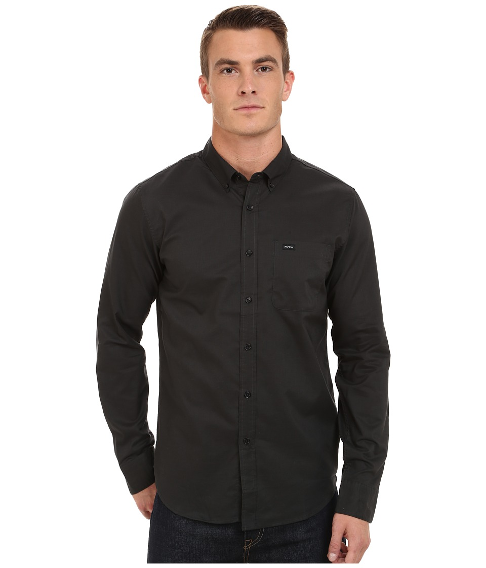 RVCA Thatll Do Oxford Long Sleeve Pirate Black Mens Long Sleeve Button Up