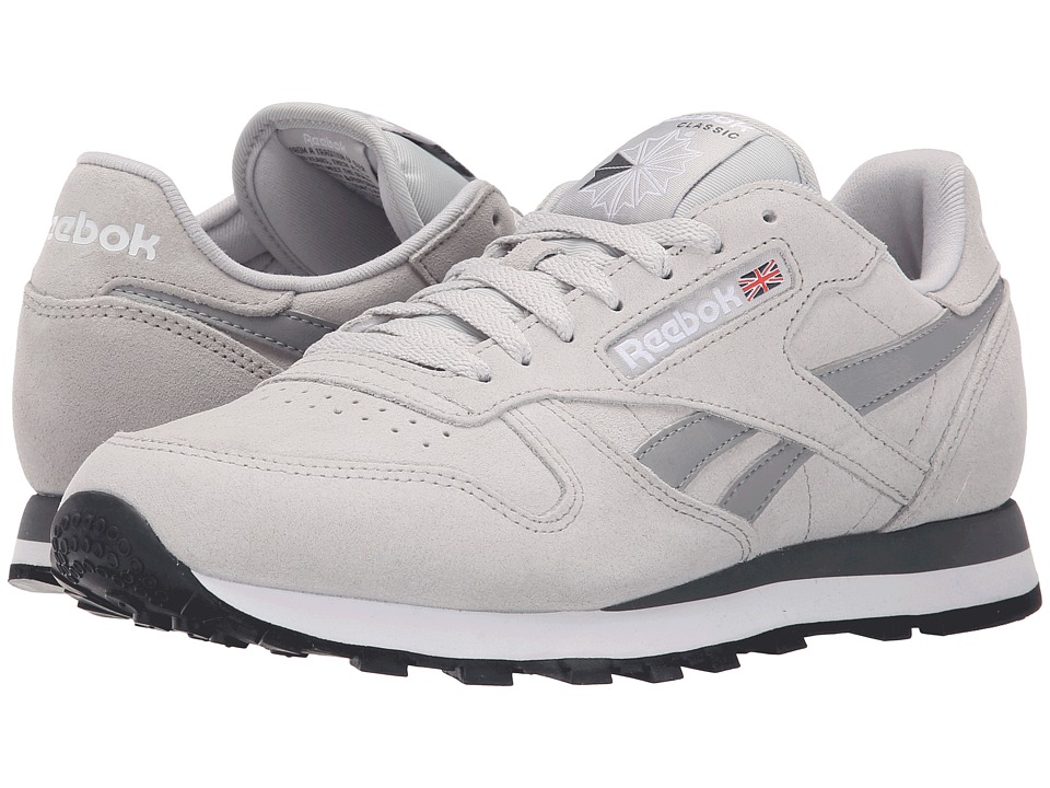 Reebok Lifestyle Classic Leather Suede Steel/Tin Grey/Alloy/White/Black Mens Classic Shoes