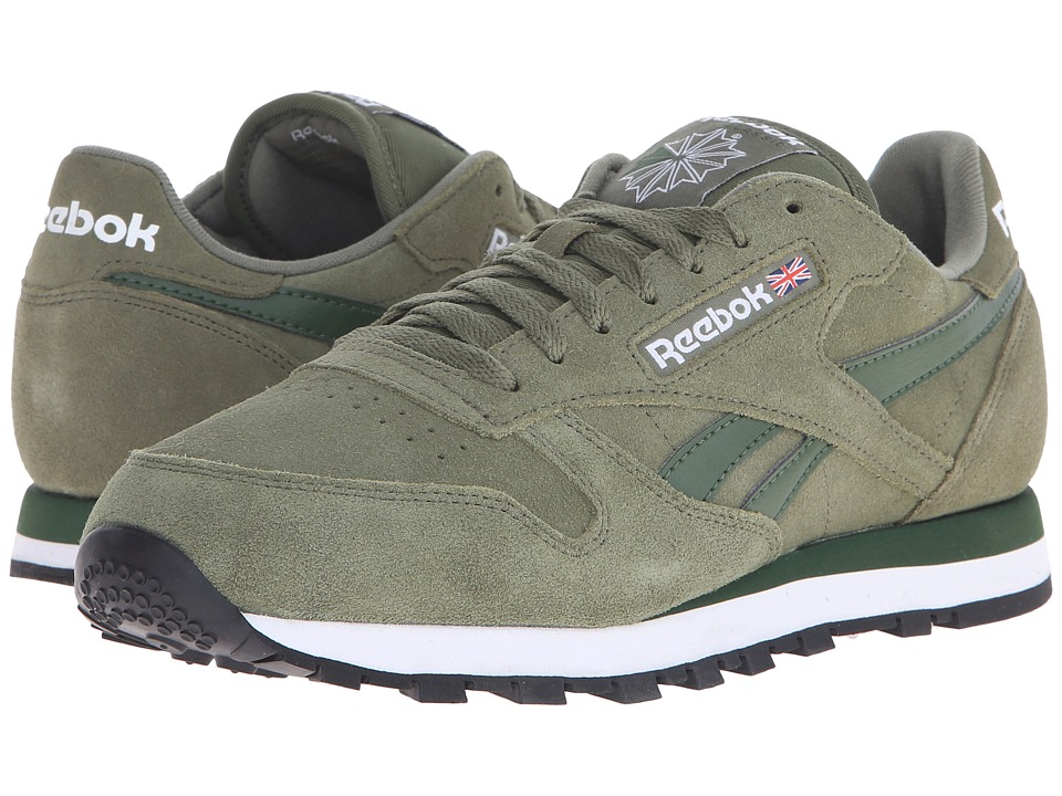 Reebok Lifestyle Classic Leather Suede Canopy Green/Scout Green/White Mens Classic Shoes